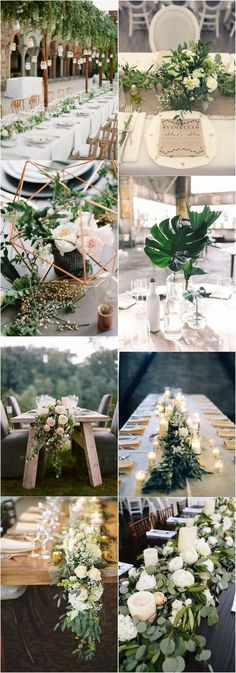 Greenery Wedding Ideas That Are Actually Gorgeous---wedding reception with greenery and floral centerpieces, diy wedding table settings for garden weddings for spring or summer, tropical wedding theme Wedding Table Centerpieces, Flower Centerpieces, Flower Arrangements, Wedding Decorations, Centerpiece Ideas, Picture Centerpieces, Hanging Centerpiece, Greenery Centerpiece, Greenery Garland