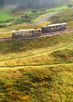 trams crossing on the Great Orme, Wales by Diane
