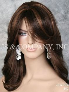 Trends Sexy Women Wig Mix Brown Highlighting Medium Wavy Synthetic Hair for sale online Medium Hair Styles, Curly Hair Styles, Hair Color Highlights, Long Hair Cuts, Hairstyles With Bangs, Updo Hairstyle, Bride Hairstyles, Hairstyle Ideas, Haircuts