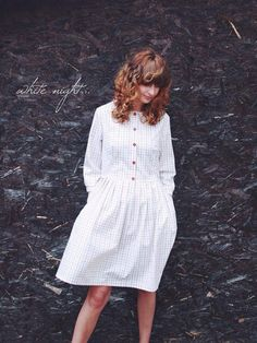 White Checkered Dress 3/4 sleeves dress Midi Dress by OffOn