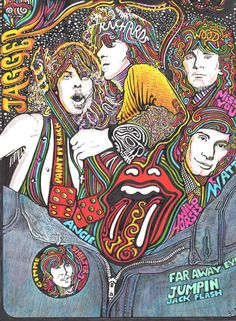 The Rolling Stones Color Art Print by Posterography on Etsy Mundo Hippie, Estilo Hippie, Rock Posters, Band Posters, Music Posters, Art Hippie, Historia Do Rock, The Rolling Stones, Greatest Rock Bands