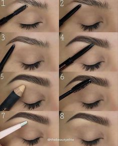 TheBeautyElite ⚡️ to fill in ⚡️ Pro Pencil as highlight ⚡️Tweezers ⚡️ Clear Brow Gel to set ausformung bemalung maquillaje makeup shaping maquillage Eyebrow Makeup Tips, Skin Makeup, Beauty Makeup, Makeup Eyebrows, How To Eyebrows, Makeup Application, Eyebrows Grow, Eye Brows, Makeup Style