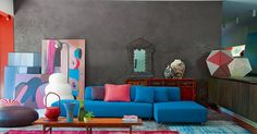 grey walls and blue sofa with colorful accents. Decor, House Design, House Colors, Interior Design, Home Deco, Interior, Room Design, Home Decor, Colorful Interiors