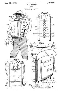 Trapper Nelson Packboard rucksack, 1924 U. External Frame Backpack, Les Scouts, Crea Cuir, Modern Backpack, Patent Drawing, Vintage Backpacks, Tactical Backpack, Leather Pattern, Camping Survival