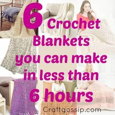These speedy creations are perfect when you need last minute gifts or need to make lot's of them. All the patterns below are perfect for charity blankets as they all work up fast and look bea…