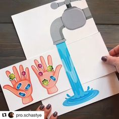 Wash the hands! Precious tip! # etieneprof Diy Educational Toys For Toddlers, Preschool Learning Activities, Toddler Activities, Preschool Activities, Educational Activities, Educational Software, Toddler Crafts, Paper Crafts For Kids, Diy For Kids