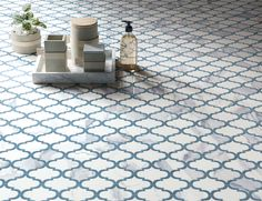 Get the classic look of marble with durable porcelain tile! Our Milan Arabesque Polished Mosaic Porcelain Tile in Atlantic Blue has the classic veining of blue marble with a modern lantern shape. It starts at $39.99 SH.