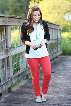 mint bow top, coral pants and black cardigan from la vie petite
