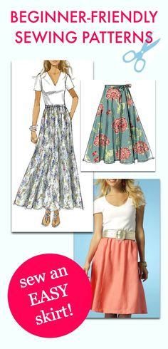 Beginner-friendly sewing patterns from the McCall Pattern Company. These skirt patterns are easy to sew.