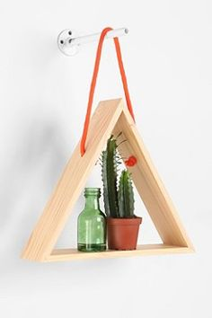 DIY Wooden Triangle Shelf w/ Rope for Hanging