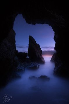 ~~Into the Blue ~ starry skies after sunset, sea cave, Olympia National Park, Washington by Alex Noriega~~ Beautiful Photos Of Nature, Nature Pictures, Beautiful Pictures, Olympia National Park, National Parks, Alex Noriega, Landscape Photography, Nature Photography, Landscape Photos