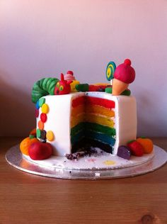 The very hungry caterpillar inspired cake. With rainbow sponge and tutti fruity buttercream!