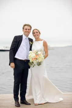 Waterfront wedding photography idea - bride + groom pose on the dock {Jessica Jaccarino Photography}