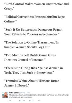 """Actual headlines published by Bannon on his """"news"""" site."""
