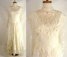 $88.88 As-Is vintage 80s Lace Victorian Steampunk Wedding Dress or Customizable Zombie Costume OPTIONAL BLOOD ~ size L Large 12 by wardrobetheglobe on Etsy