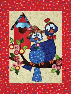 """Spring is in the air with a delightful new quilt pattern!   Featuring a bluebird being wooed by a potential suitor, this whimsical and fun wall hanging is great for celebrating the season of love all year-round. This fun and fast project can be quickly fused using scraps with very minimal stitching, making for a great finished product! Finished size is approximately 18"""" x 23""""."""