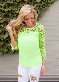 Online boutique. Best outfits. Graced with Lace Neon Green Top - Modern Vintage Boutique