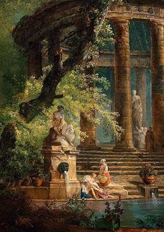 Fantasy Landscape, Fantasy Art, Art Et Architecture, Art Ancien, Classic Paintings, Classical Art, Renaissance Art, Old Art, Aesthetic Art