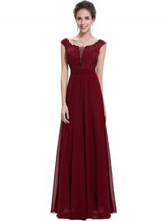 Women's Chic Floral Lace Trim Mesh Paneled Maxi Prom Dress OASAP.com