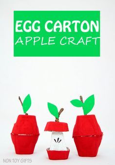 Egg carton apple craft. Simple fall craft to try with kids. A nice craft that…