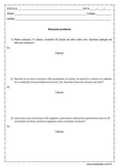 Problemas de matemática: Multiplicação e Divisão - 4º ou 5º ano