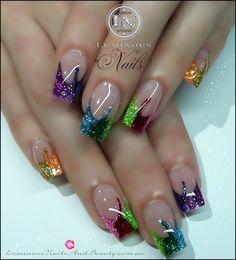 These look like Mardi Gras nails. Fabulous Nails, Gorgeous Nails, Pretty Nails, French Nails, French Pedicure, Luminous Nails, Nagellack Design, Summer Acrylic Nails, Acrylic Gel
