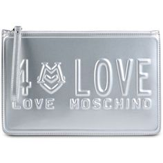 Love Moschino Clutch (520 RON) ❤ liked on Polyvore featuring bags, handbags, clutches, silver, love moschino, love moschino handbags, zipper purse, love moschino purse and blue purse