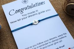 Graduation Gift Friendship Bracelet Inspirational Wish Bracelet Compass Bracelet Graduation Card College Graduation High School Graduation High School Graduation Gifts, Graduation Cards, Wish Bracelets, Gift Quotes, Congratulations Card, Inspirational Gifts, Never Give Up, Gifts For Friends, Personalized Gifts