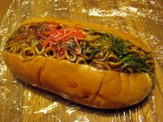 Yakisoba Noodles and Worcestershire Sauce in a Bun