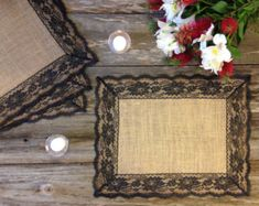 Lace Placemats Burlap and Dark Green Lace by DawnWeddingDesigns