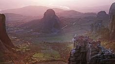 This would be an amazing place to visit. It is The Monasteries of the Meteora in Greece. I love Gregorian Chant music performed by monks as a form of worship and to think of the beauty of the architecture not to mention all of the old books that are housed there. What a dream place...