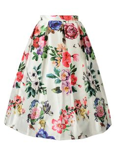 Multicolor Floral High Waist Midi Skirt