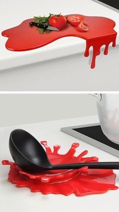 Splash and Puddle // a chopping board that drips off the edge, and a red splash spoon rest (Love this!) #kitchen #gadget #product_design. CHOPPING BOARD...EH. BUT THE SPOON REST IS AWESOME!