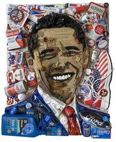 Presidential pop-art: The portrait of Obama is comprised of election paraphernalia, cigarette boxes and items that would commonly be found down the back of an old sofa Art Pop, Collages, Collage Art, Donald Trump, 3d Portrait, Obama Portrait, Mosaic Portrait, Pop Art Portraits, Chevron