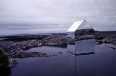 Artist Ekkehard Alteburger produced 'Mirror House' in 1996 during his student days at Edinburgh College of Art. What looks more like a Photoshop exercise is actually a construction of large mirror sheets on a steel frame. The work sits in a shallow lake, and the house is reflecting the Atlantic Ocean. The project influenced and guided Altenburgers artistic career ever since.