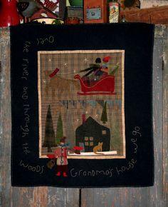 Wool Applique Pattern  Grandma's House by FiddlestixDesign on Etsy