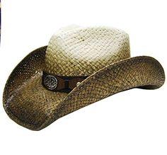 e8002859d35 Modestone Men s Straw Cowboy Hat Metal Concho Studs Hatba... https