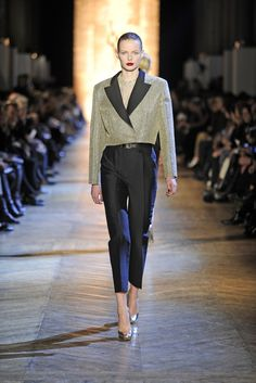 Yves Saint Laurent....Need gold pumps and cropped blazer. Metallics <3