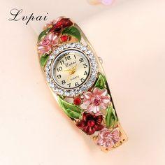Lvpai Watches 2016 Hot Sale Fashion Casual Women Bracelet Watch Alloy Flowers Diamond Wrist Watches Dress Quartz Watch