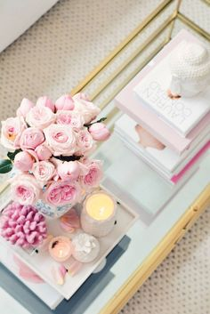 Around The House: Spring Decor Updates ideas for coffee table decor under coff Coffee Table Styling, Decorating Coffee Tables, Coffe Table, Spring Home Decor, Diy Home Decor, Table Decor Living Room, Living Rooms, Living Spaces, Girly