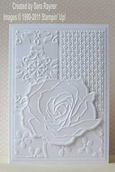 8/29/2011; Sara Rayner at 'Sara's Crafting & Stamping Studio' blog; using SU products; I love white on white adds and this one is lovely!