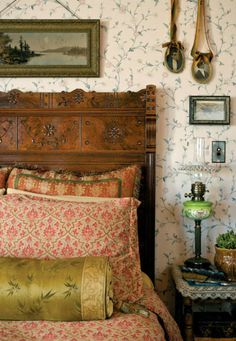 A Ravishing Queen Anne House In the master bedroom, airy with a floral paper, Audry's own silk pillows sit on the Eastlake-style, spoon-carved walnut bed. Home Bedroom, Bedroom Decor, Bedroom Rustic, Bedroom Furniture, Bedroom Ideas, Master Bedrooms, Furniture Design, Bedroom Signs, Decorating Bedrooms