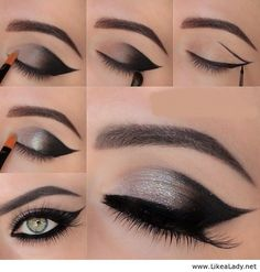 Eye Makeup Tips.Smokey Eye Makeup Tips - For a Catchy and Impressive Look Smoky Eye Makeup Tutorial, Smokey Eye Makeup, Skin Makeup, Makeup Eyeshadow, Eyeshadows, Makeup Contouring, Gray Eyeshadow, Eyeshadow Palette, Gothic Makeup Tutorial