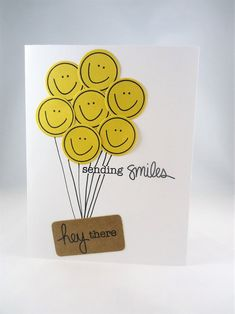 Sending Smiles, hey there card - Yellow Happy Face card - Miss you card - Thinking of you, Love you, How are you card - blank greeting card. Frederique, Miss You Cards, Happy Birthday Cards, Diy Birthday, Birthday Greeting Cards, Funny Birthday, Greeting Cards Handmade, Handmade Bday Cards, Funny Greeting Cards