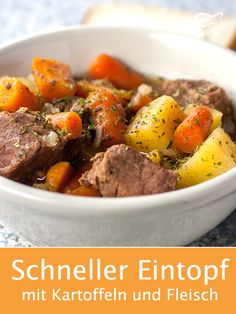 With this recipe, you can conjure up a great and filling dish with just a few ingredients. stew # stew With this recipe you can achieve a great and filling .de gutekuechede Eintopf Rezepte With this recipe, you c Vegetable Dishes, Vegetable Recipes, Meat Recipes, Slow Cooker Recipes, Irish Stew, Quick And Easy Soup, Different Vegetables, One Pot Meals, Lunches And Dinners