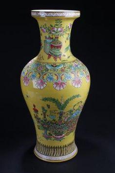 China Famille Jaune florero de la porcelana