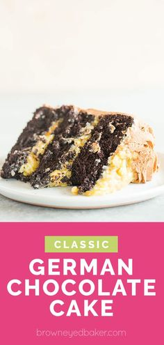 The BEST German Chocolate Cake! This classic German chocolate cake starts with three layers of moist chocolate cake, then adds a pecan-coconut filling, and simple chocolate frosting. Coconut Pecan Frosting, Chocolate Frosting, Chocolate Cakes, Chocolate Cheesecake, Easy Cake Recipes, Dessert Recipes, Milk Recipes, Sweet Desserts, Muffin Recipes