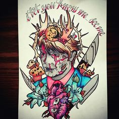 #hannibal #gore #horror #tattoo #ink #flower #knife #blood #suffering #heart #eye #forest #serialkiller #psycho #horn