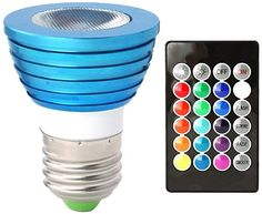 10HitLights BlueWind Multicolor RGB 3 Watt MR16/E26 LED Bulb - 10 Year Lifespan, Includes Remote with Memory Function, Fits standard Light Bulb Socket - 16 Colors, 120V AC