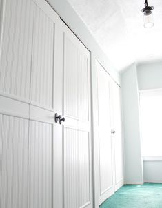 This tutorial will show you how I updated our bifold closet doors with beadboard wallpaper, trim, and paint. A huge transformation at a very minimal cost!